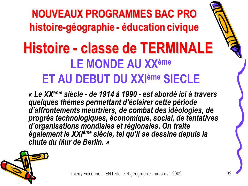 Histoire - classe de TERMINALE