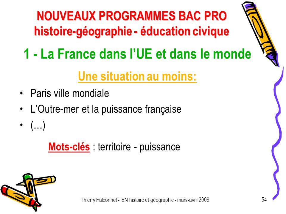1 - La France dans l'UE et dans le monde