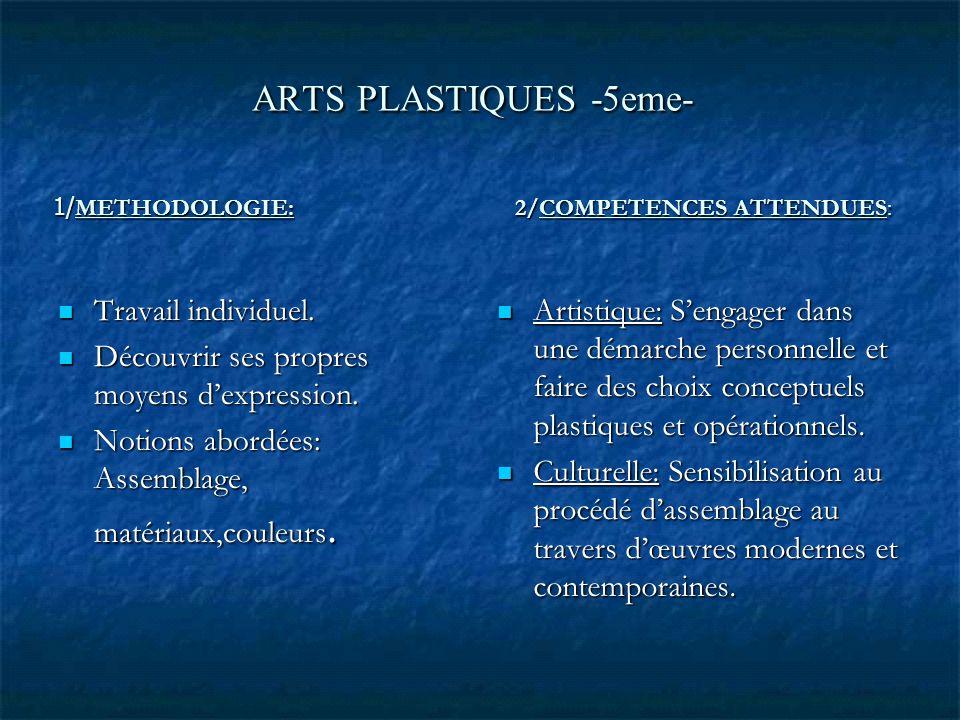 ARTS PLASTIQUES -5eme- 1/METHODOLOGIE: 2/COMPETENCES ATTENDUES: