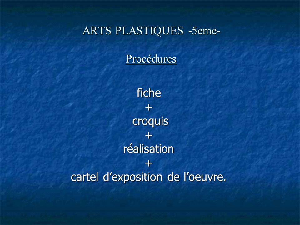 ARTS PLASTIQUES -5eme- Procédures