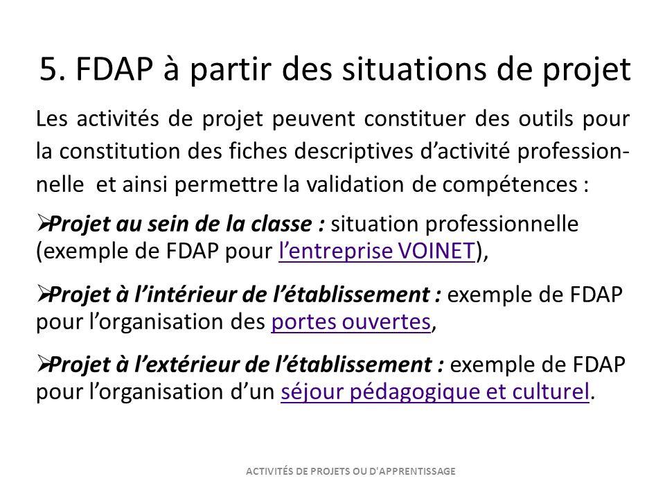 5. FDAP à partir des situations de projet