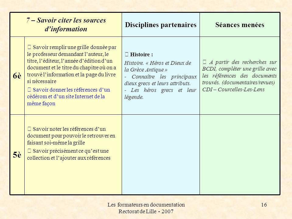 Disciplines partenaires 7 – Savoir citer les sources d'information