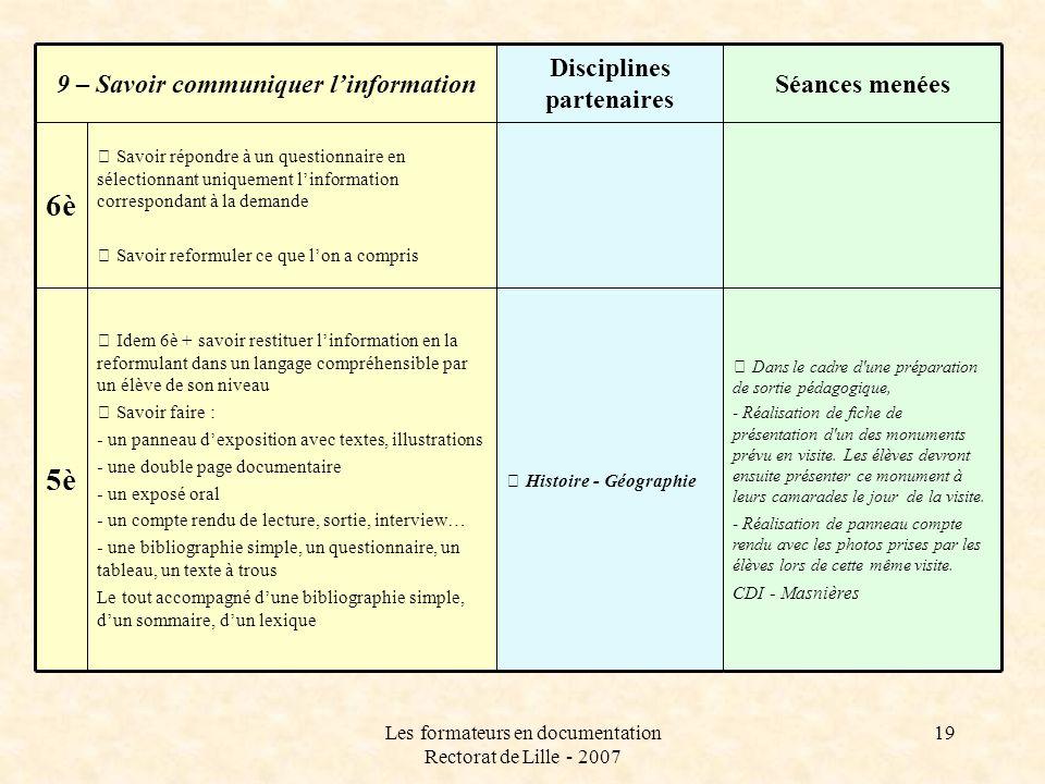 Disciplines partenaires 9 – Savoir communiquer l'information