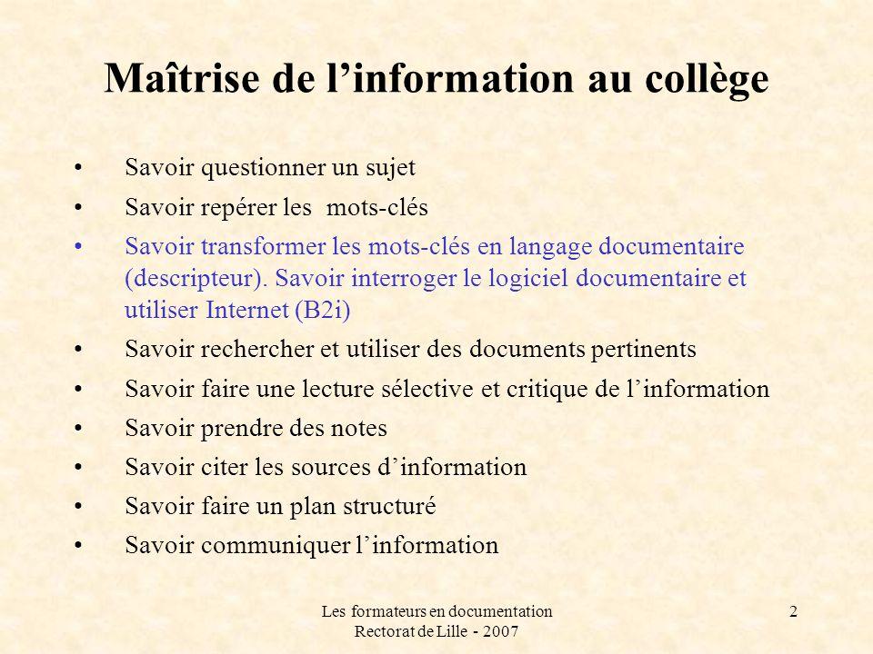 Maîtrise de l'information au collège
