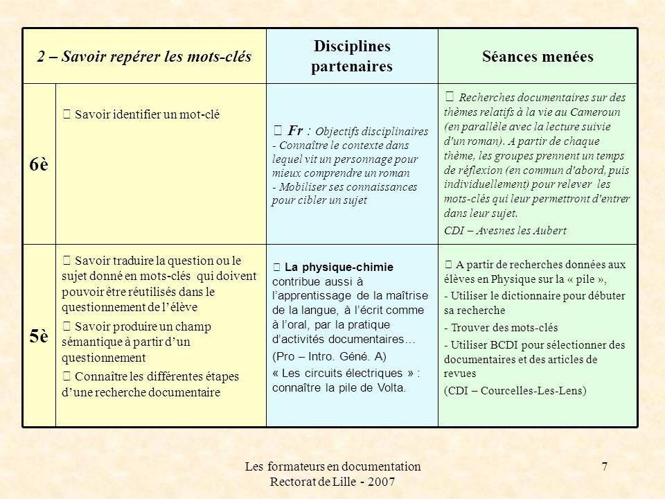 Disciplines partenaires 2 – Savoir repérer les mots-clés