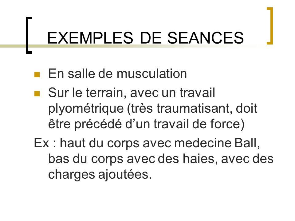 EXEMPLES DE SEANCES En salle de musculation