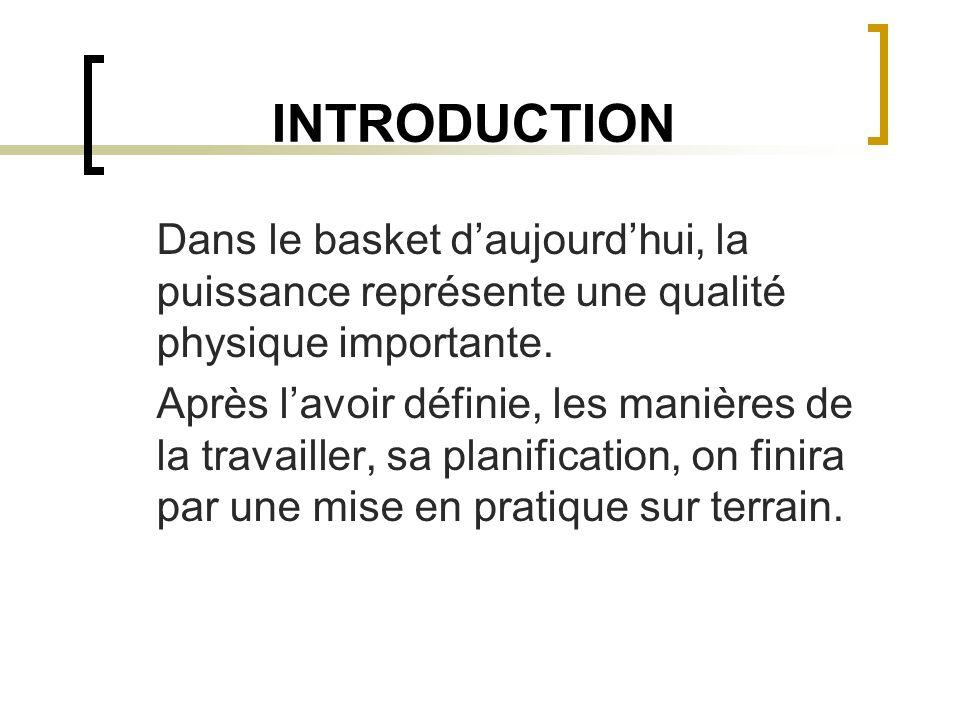 INTRODUCTION Dans le basket d'aujourd'hui, la puissance représente une qualité physique importante.