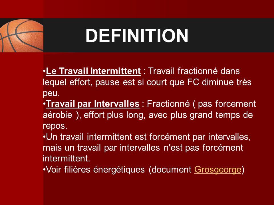 DEFINITION Le Travail Intermittent : Travail fractionné dans lequel effort, pause est si court que FC diminue très peu.