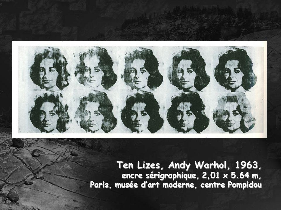 Ten Lizes, Andy Warhol, 1963, encre sérigraphique, 2,01 x 5.64 m,