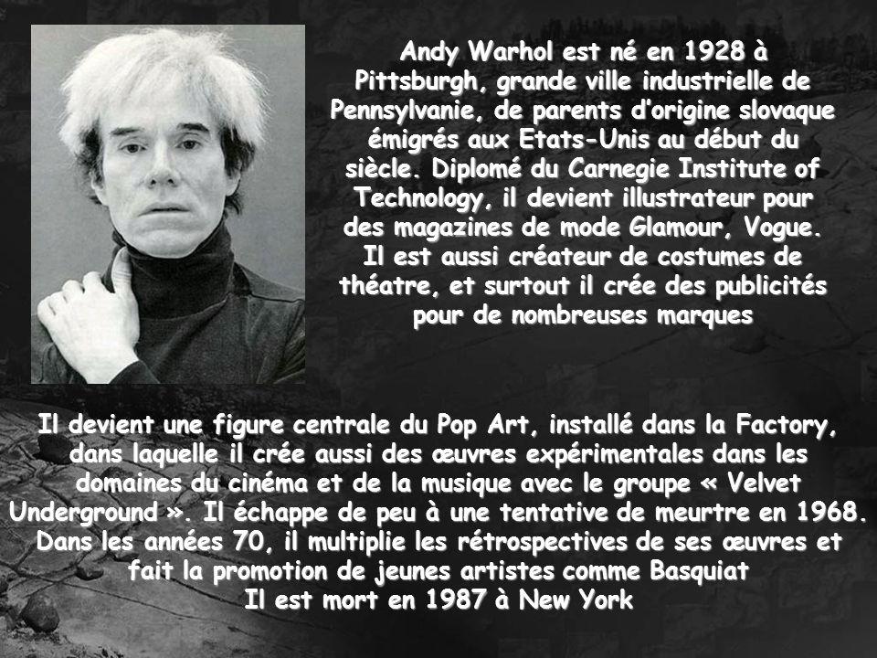 Andy Warhol est né en 1928 à Pittsburgh, grande ville industrielle de Pennsylvanie, de parents d'origine slovaque émigrés aux Etats-Unis au début du siècle. Diplomé du Carnegie Institute of Technology, il devient illustrateur pour des magazines de mode Glamour, Vogue. Il est aussi créateur de costumes de théatre, et surtout il crée des publicités pour de nombreuses marques