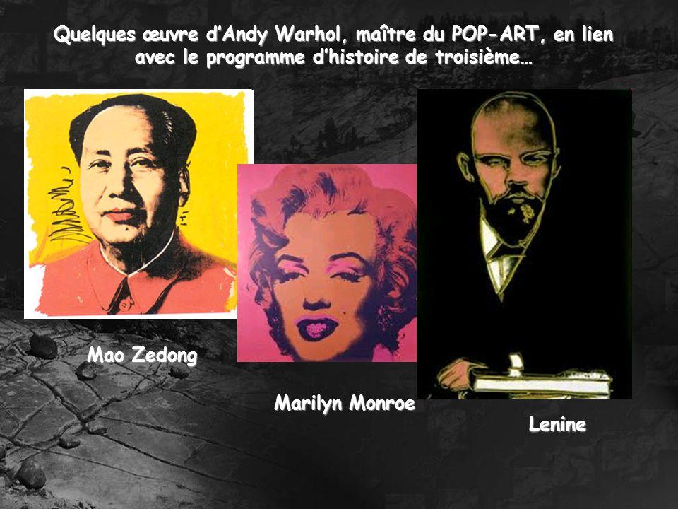 Quelques œuvre d'Andy Warhol, maître du POP-ART, en lien avec le programme d'histoire de troisième…