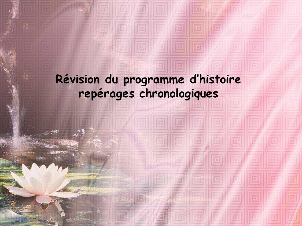 Révision du programme d'histoire repérages chronologiques