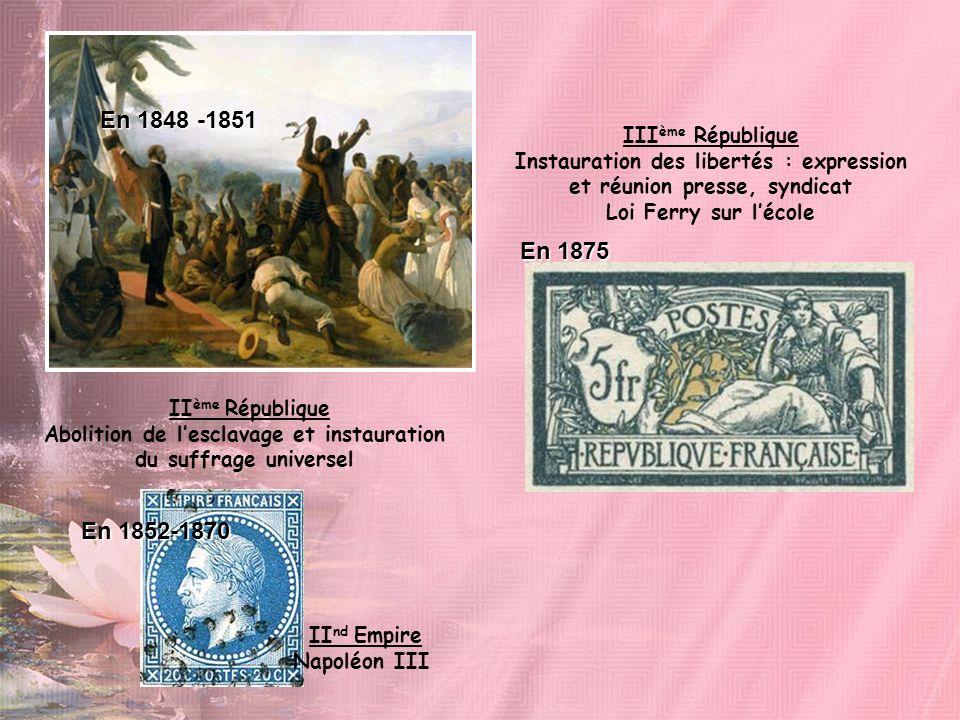En 1848 -1851 En 1875 En 1852-1870 IIIème République