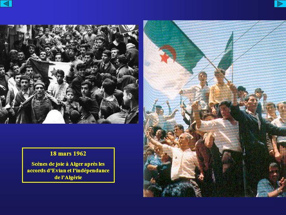 18 mars 1962 Scènes de joie à Alger après les accords d'Evian et l'indépendance de l'Algérie