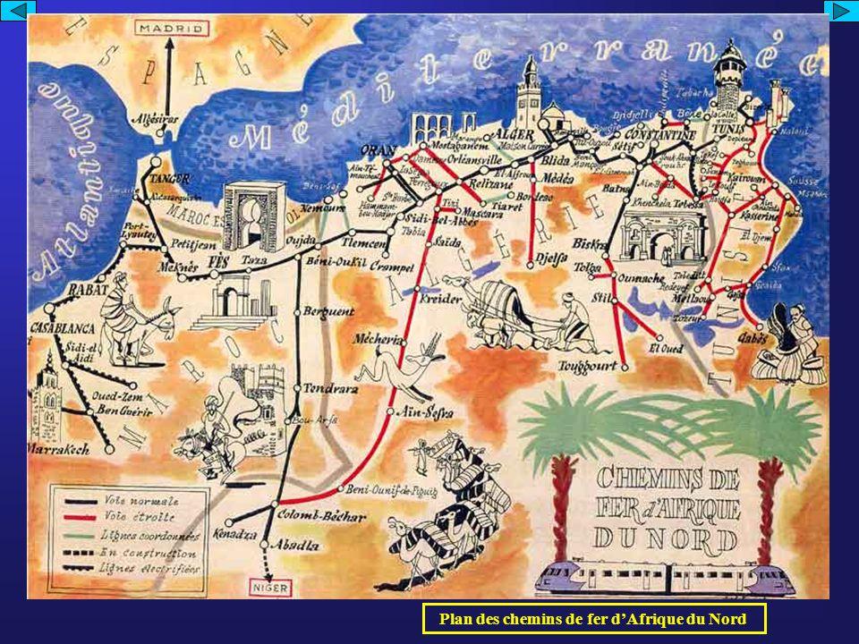 Plan des chemins de fer d'Afrique du Nord