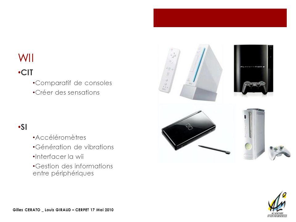 WII CIT SI Comparatif de consoles Créer des sensations Accéléromètres