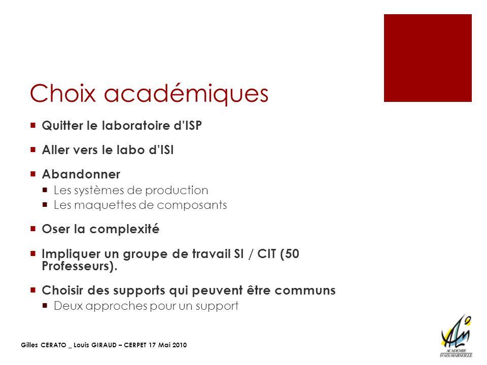 Choix académiques Quitter le laboratoire d ISP