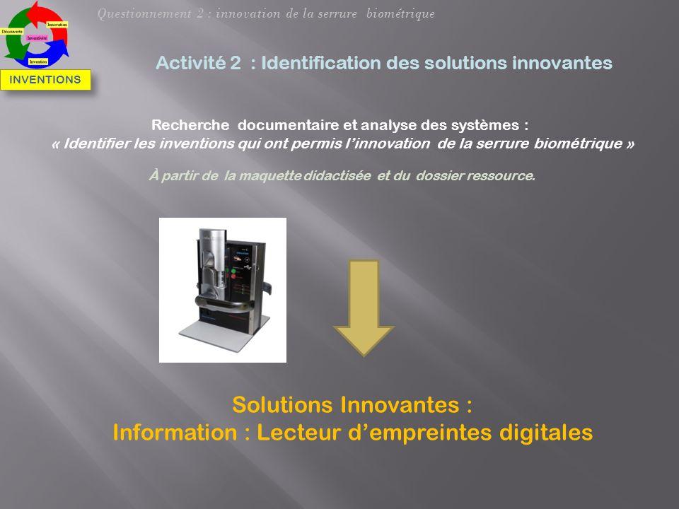 Solutions Innovantes : Information : Lecteur d'empreintes digitales