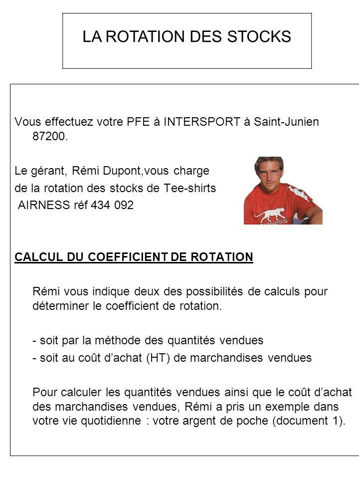 LA ROTATION DES STOCKS Vous effectuez votre PFE à INTERSPORT à Saint-Junien 87200. Le gérant, Rémi Dupont,vous charge.