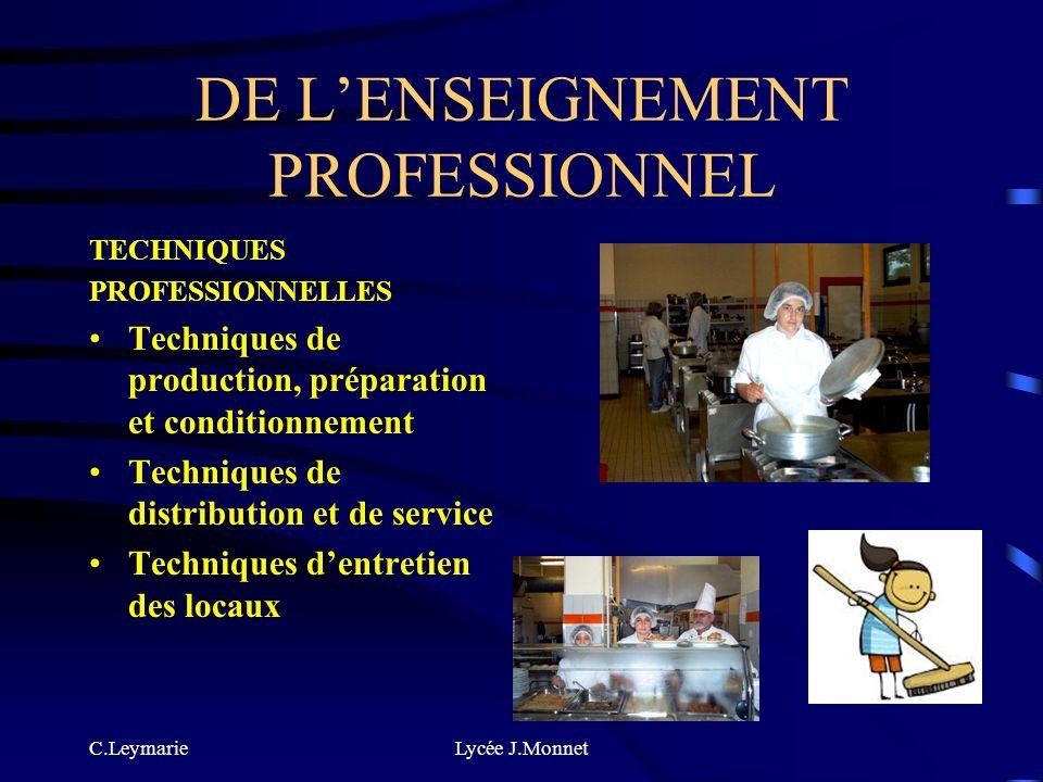 DE L'ENSEIGNEMENT PROFESSIONNEL