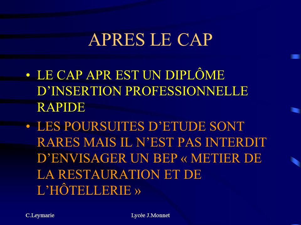 APRES LE CAP LE CAP APR EST UN DIPLÔME D'INSERTION PROFESSIONNELLE RAPIDE.