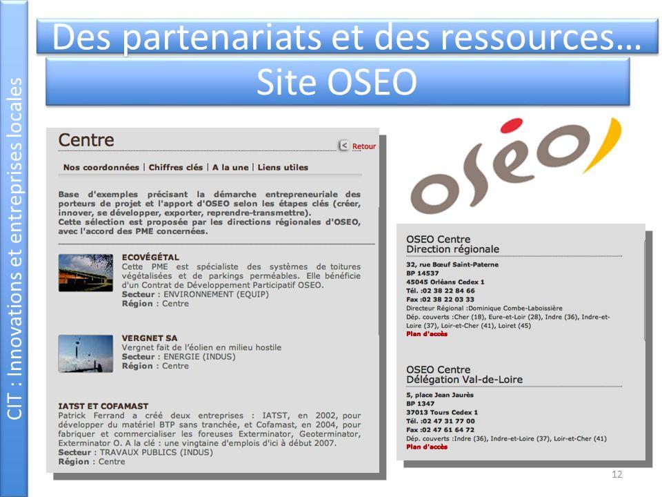 Des partenariats et des ressources… Site OSEO