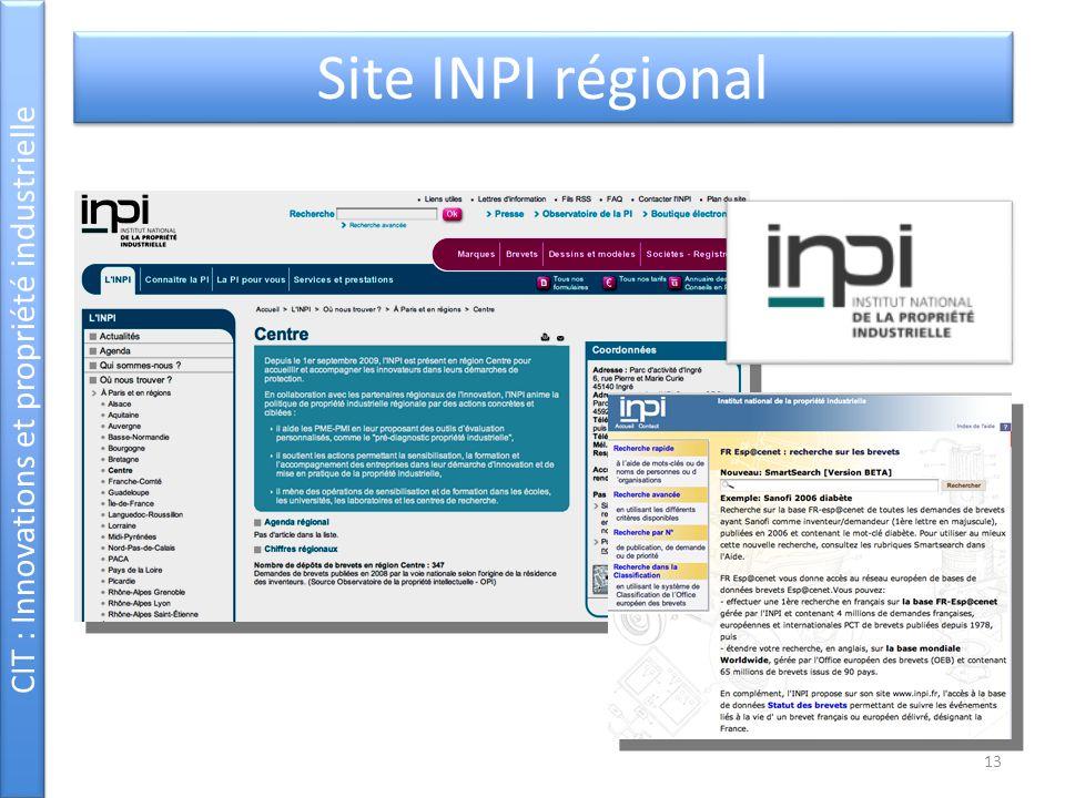 CIT : Innovations et propriété industrielle