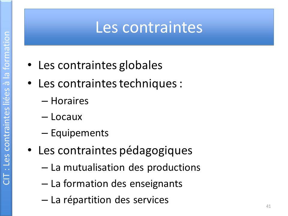 CIT : Les contraintes liées à la formation