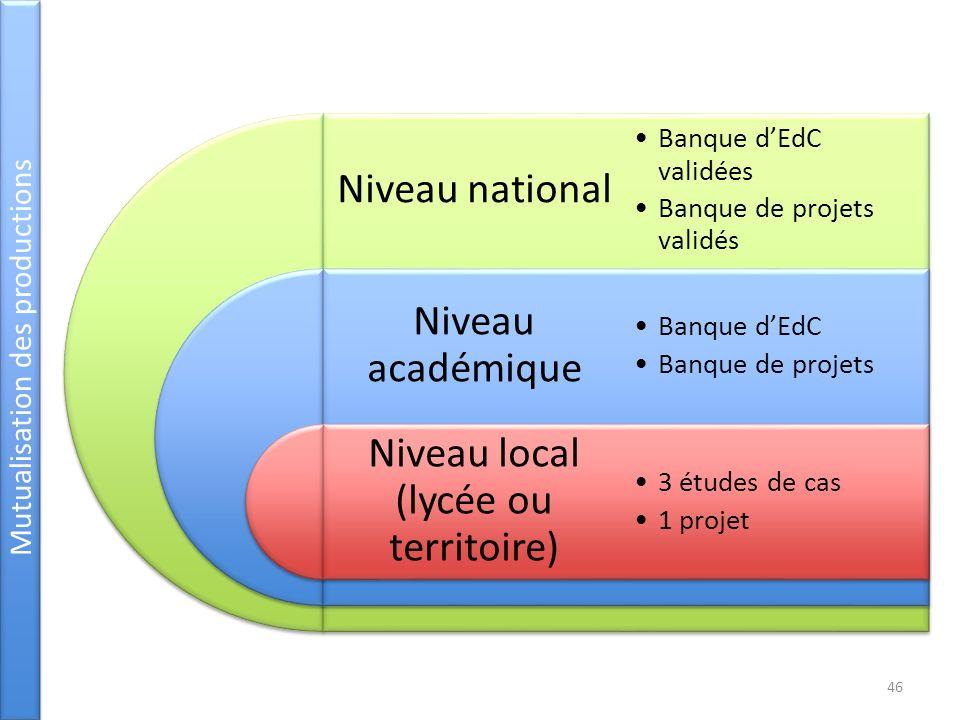 Niveau local (lycée ou territoire)