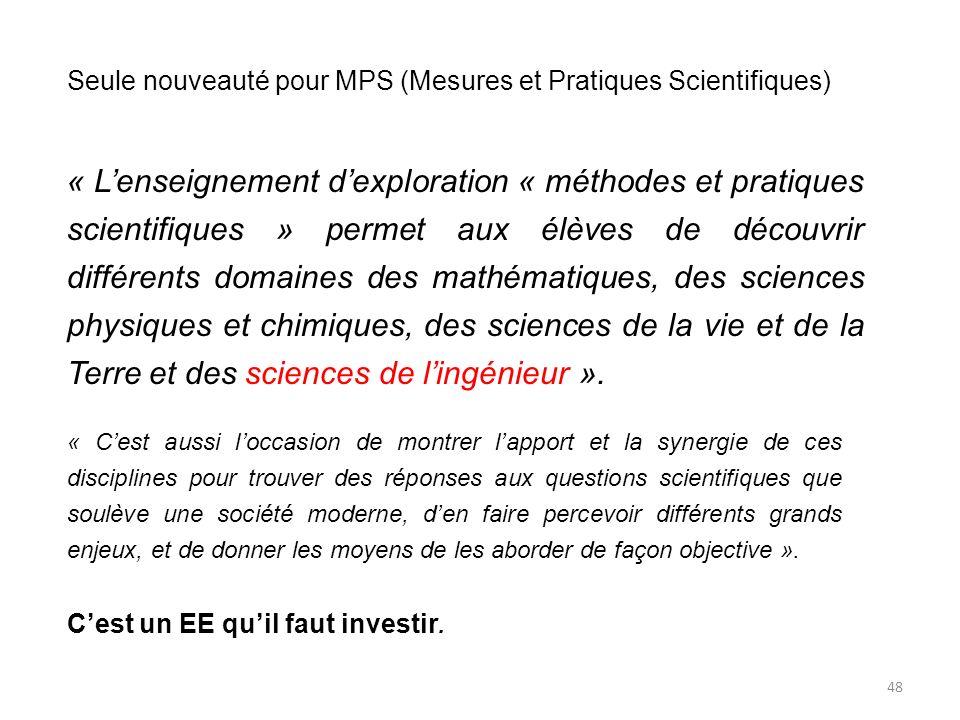 Seule nouveauté pour MPS (Mesures et Pratiques Scientifiques)