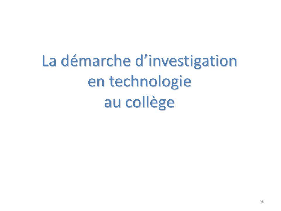 La démarche d'investigation en technologie au collège