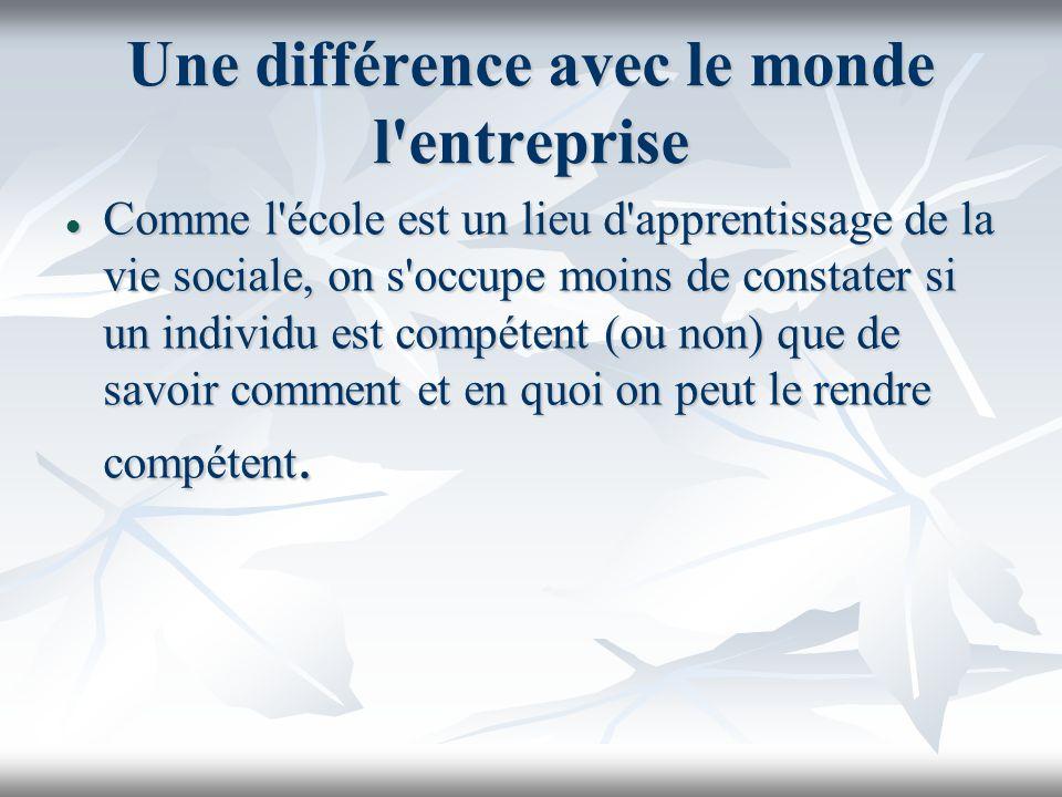 Une différence avec le monde l entreprise