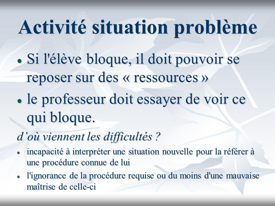 Activité situation problème