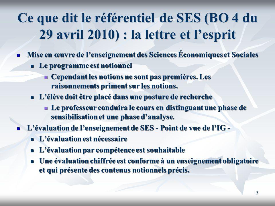 Ce que dit le référentiel de SES (BO 4 du 29 avril 2010) : la lettre et l'esprit