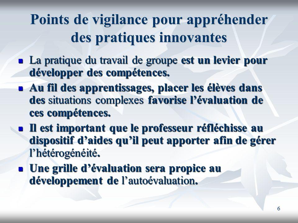 Points de vigilance pour appréhender des pratiques innovantes