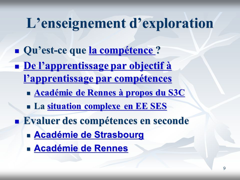 L'enseignement d'exploration