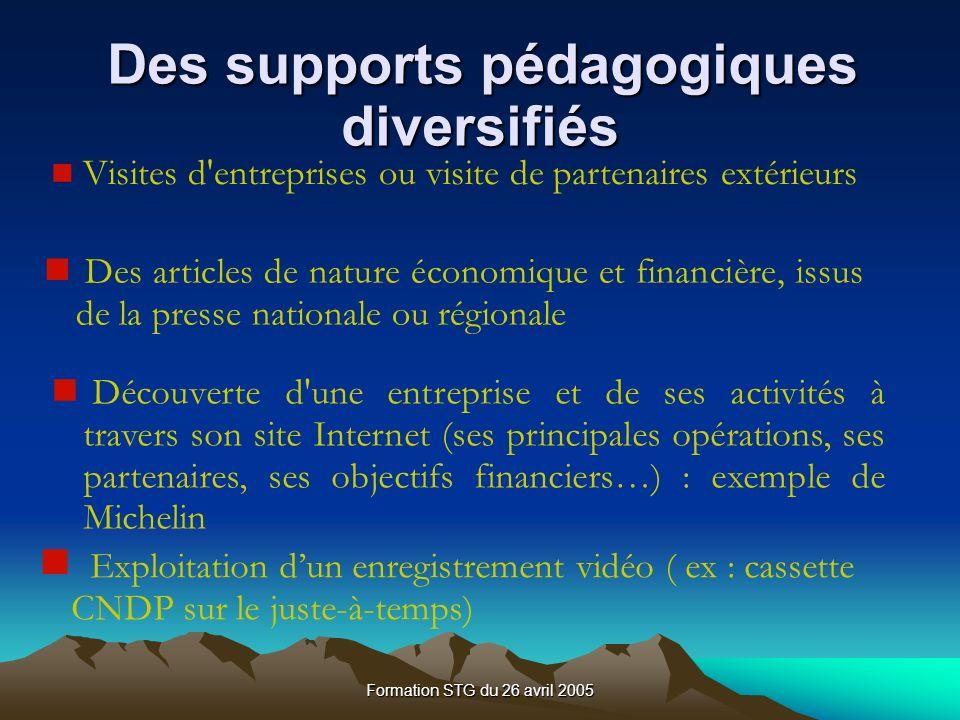 Des supports pédagogiques diversifiés