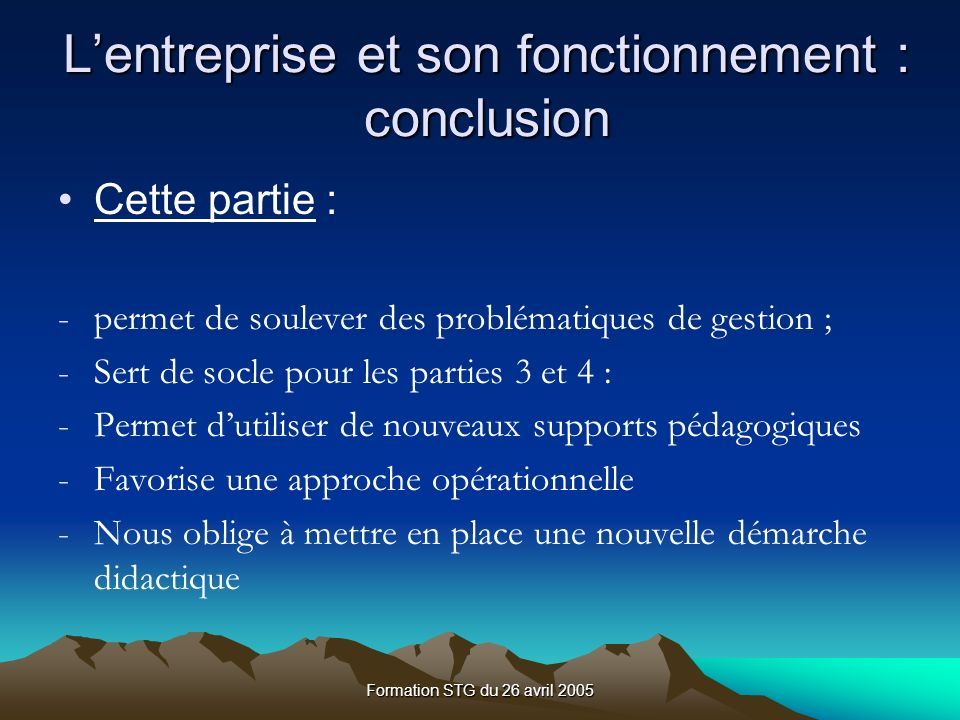 L'entreprise et son fonctionnement : conclusion