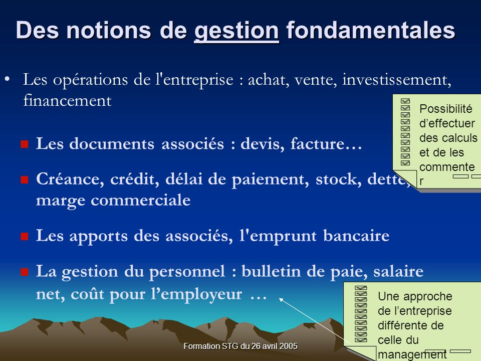 Des notions de gestion fondamentales