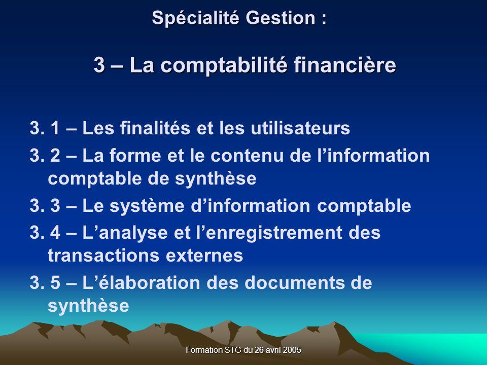 Spécialité Gestion : 3 – La comptabilité financière
