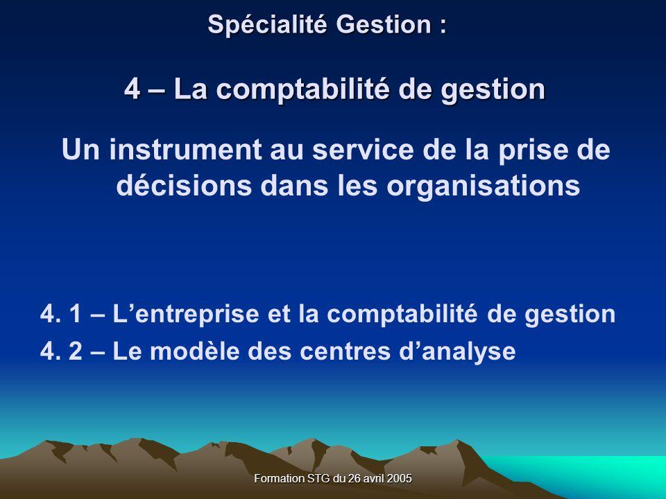 Spécialité Gestion : 4 – La comptabilité de gestion