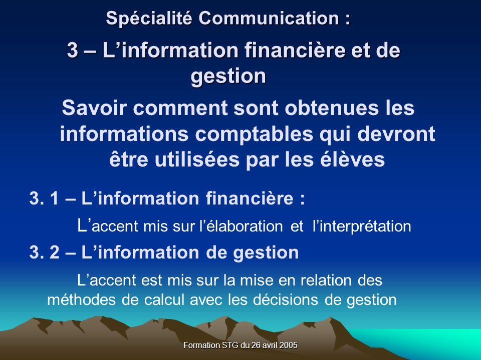 Spécialité Communication : 3 – L'information financière et de gestion
