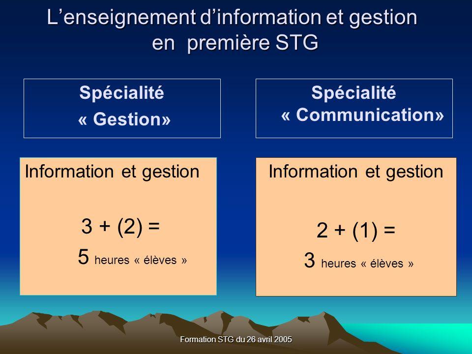 L'enseignement d'information et gestion en première STG