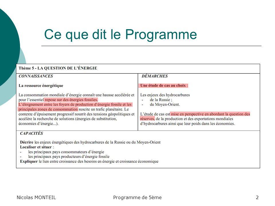 Ce que dit le Programme Nicolas MONTEIL Nicolas MONTEIL