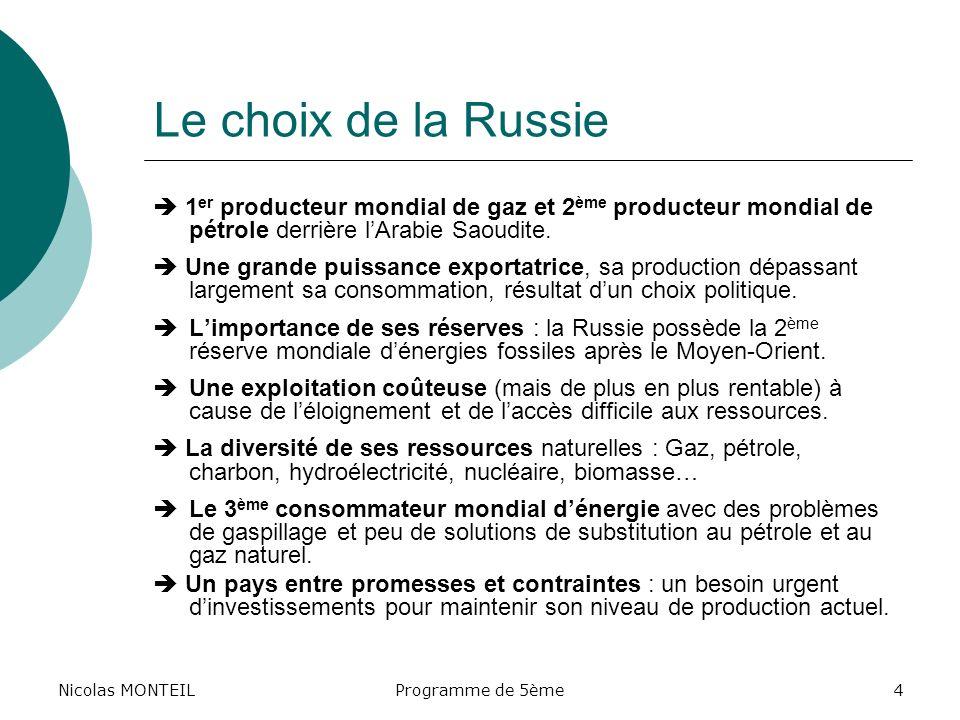 Nicolas MONTEILLe choix de la Russie.  1er producteur mondial de gaz et 2ème producteur mondial de pétrole derrière l'Arabie Saoudite.