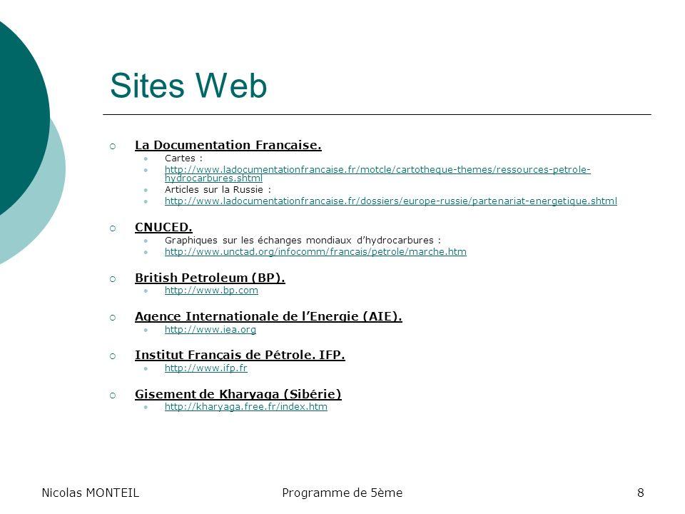 Sites Web Nicolas MONTEIL La Documentation Française. CNUCED.