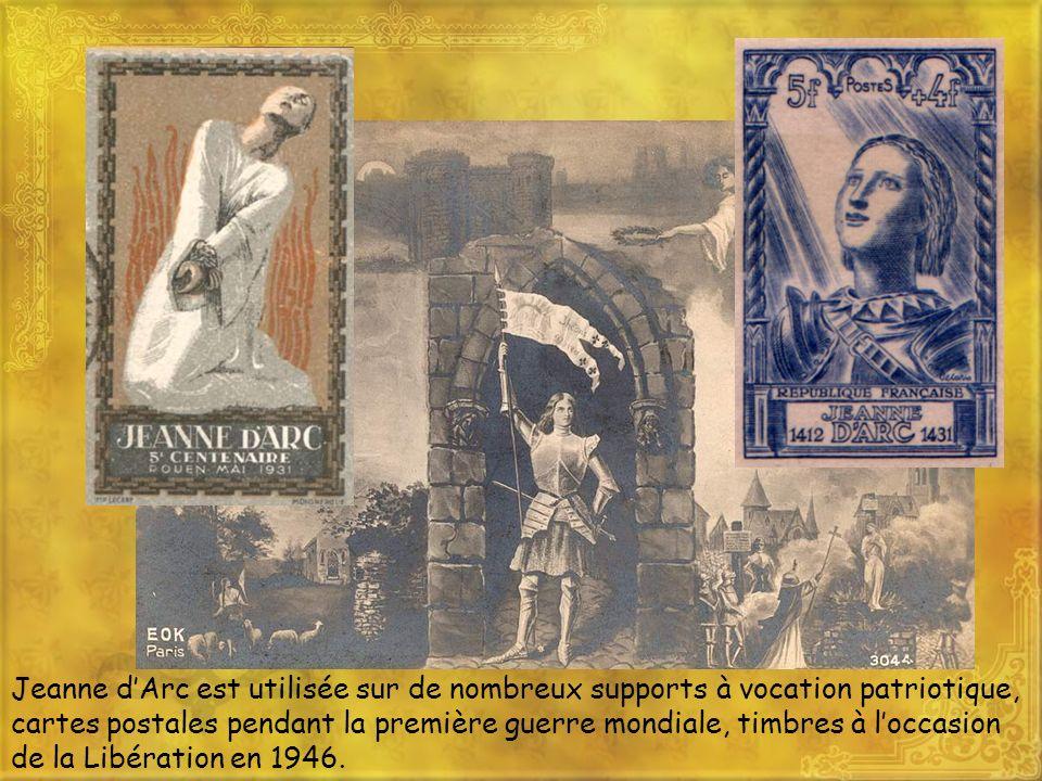 Jeanne d'Arc est utilisée sur de nombreux supports à vocation patriotique, cartes postales pendant la première guerre mondiale, timbres à l'occasion de la Libération en 1946.