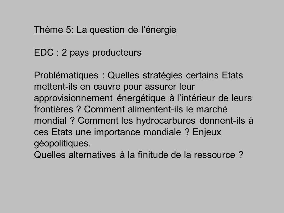 Thème 5: La question de l'énergie