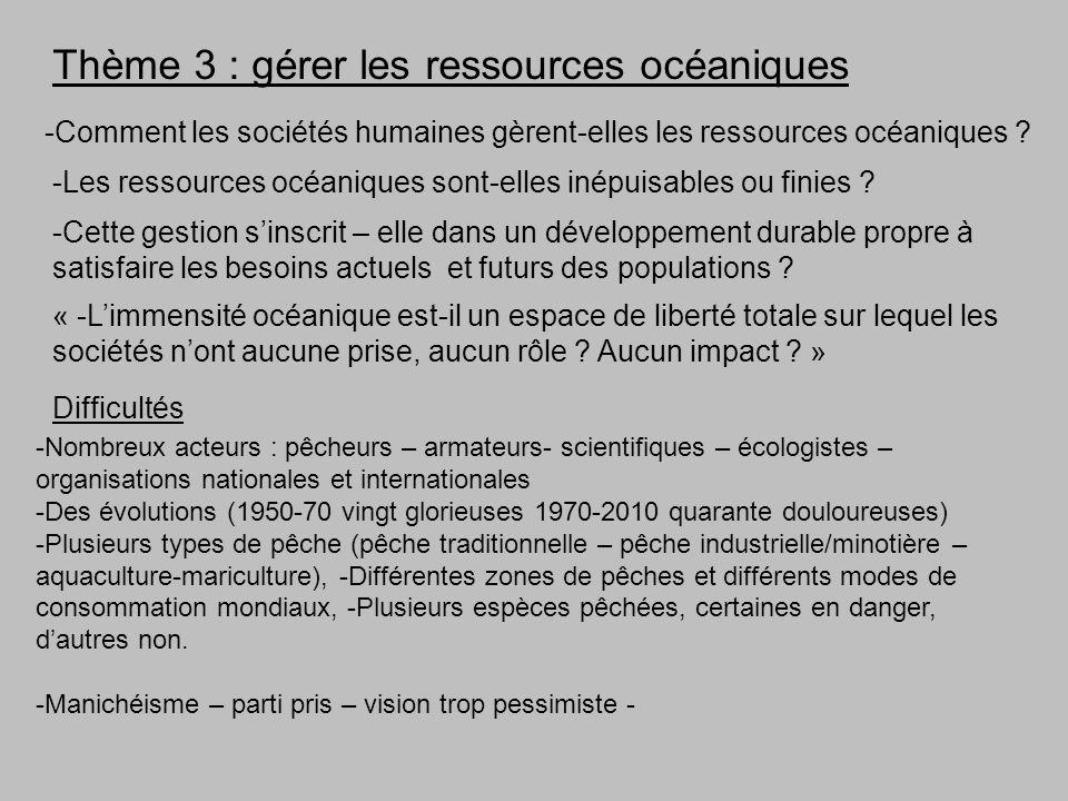 Thème 3 : gérer les ressources océaniques