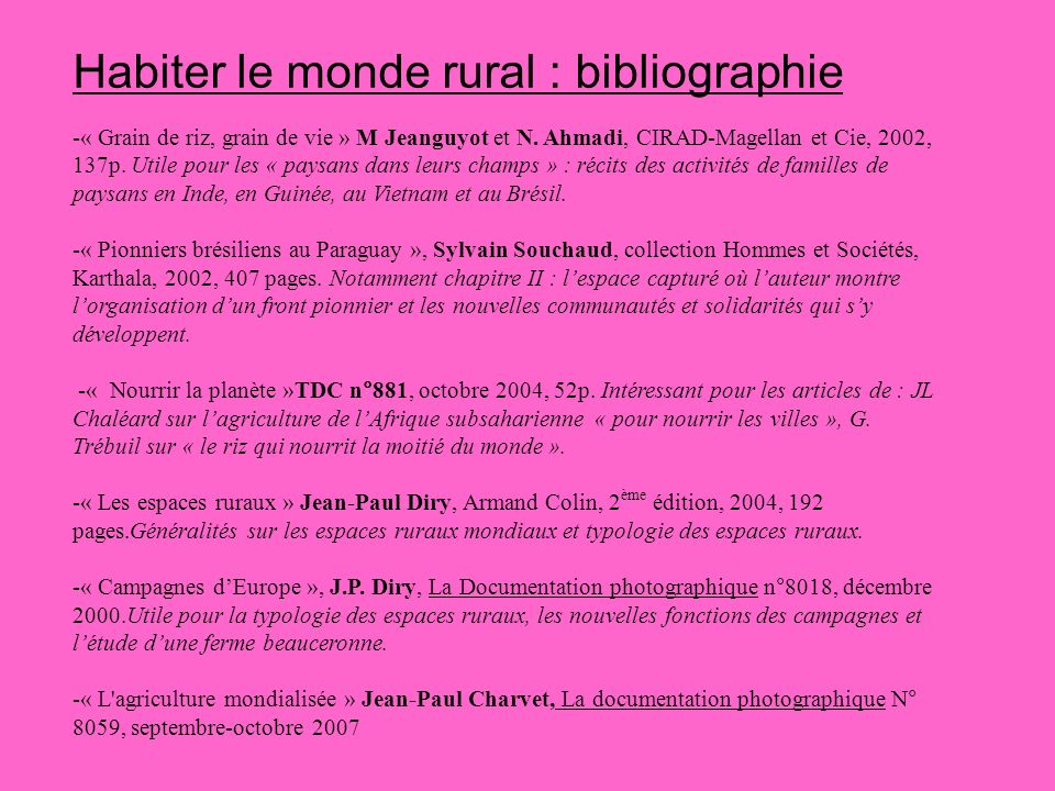 Habiter le monde rural : bibliographie